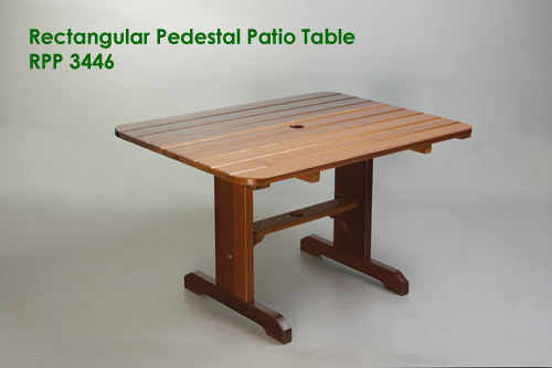 Rectangular Pedestal Patio Table